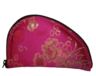 Small Pistol Case, Pink Brocade